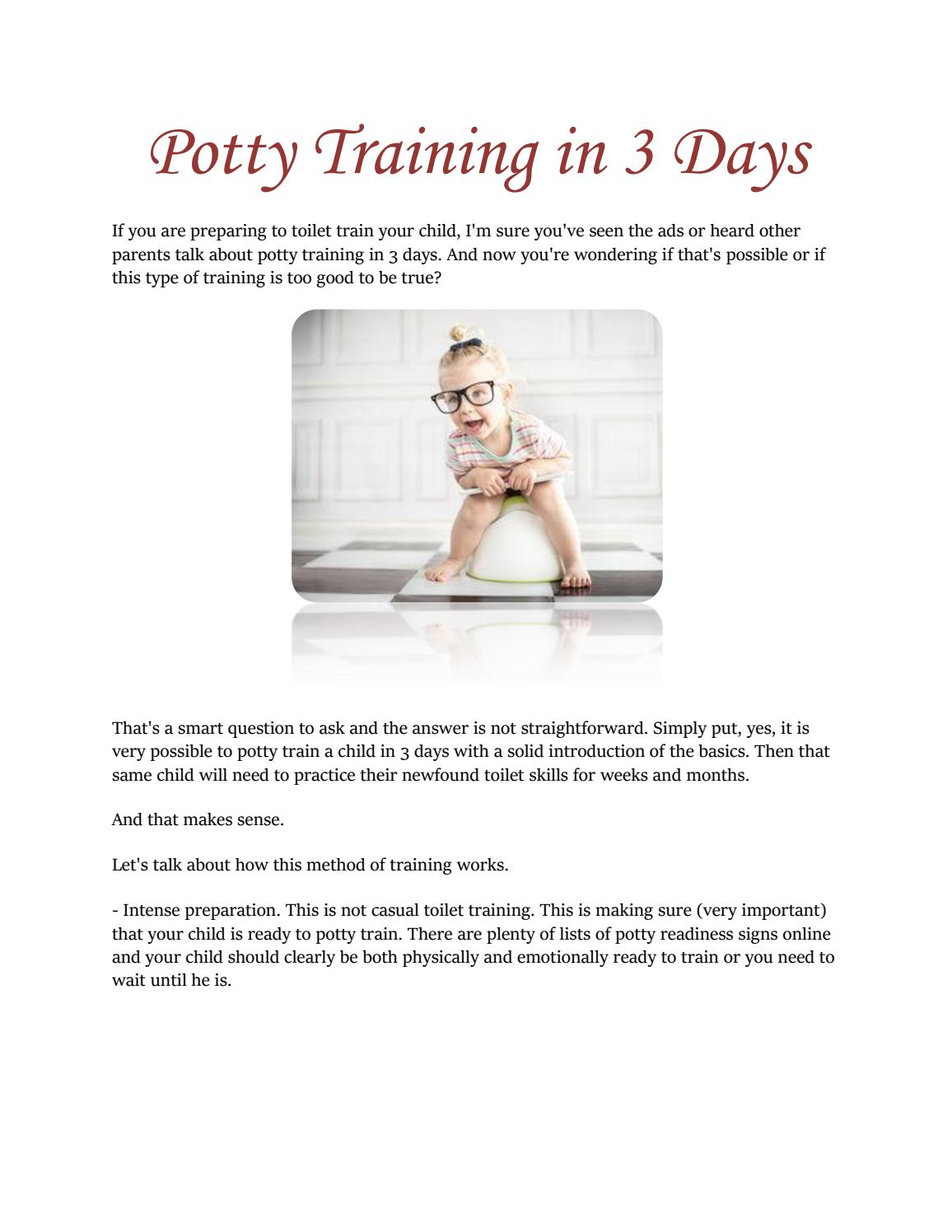 guide to potty training in 3 days