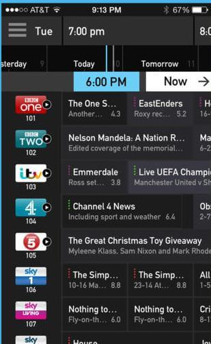 sky tv guide not showing listings
